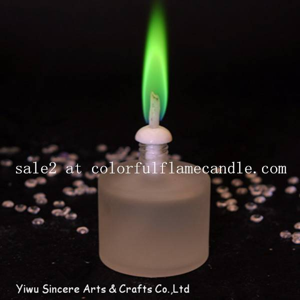 Colored flame candle with oil