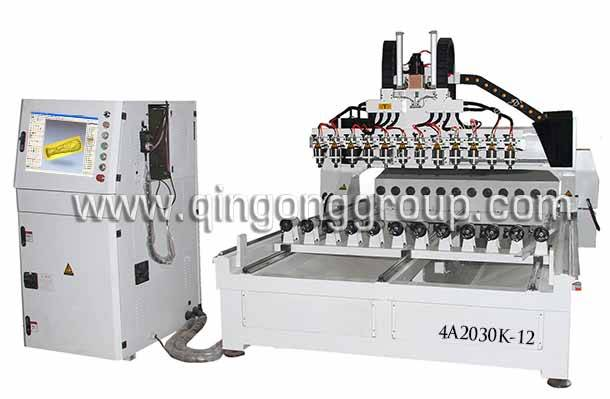 4 Axis 3D 12 Heads CNC Engraving Router Machine 4A2030K-12