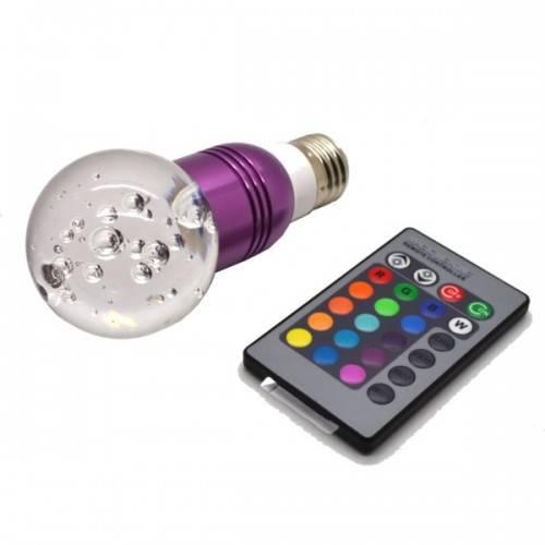 E27 1X3W Crystal Remote Control 16 colors RGB LED Light Bulb Lamp 3W AC 85-265V