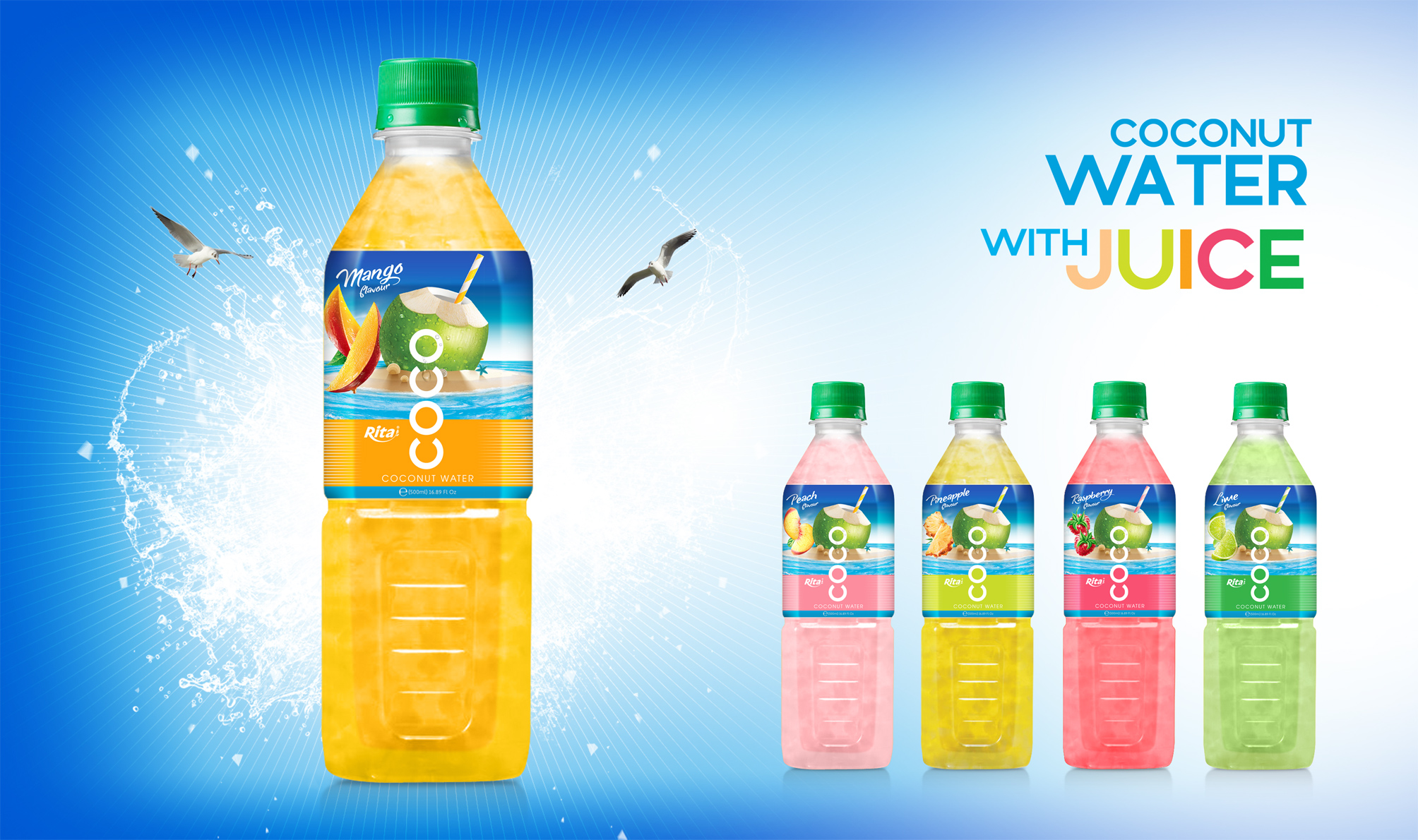 Coconut water with pineapple flavor Natural