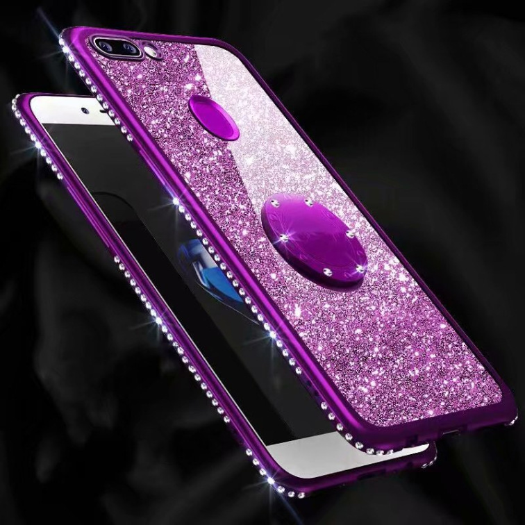 fashion diaomnd glitter plated TPU Ring Stand soft shockproof case for iPhone XS XR XS MAX 11 PRO