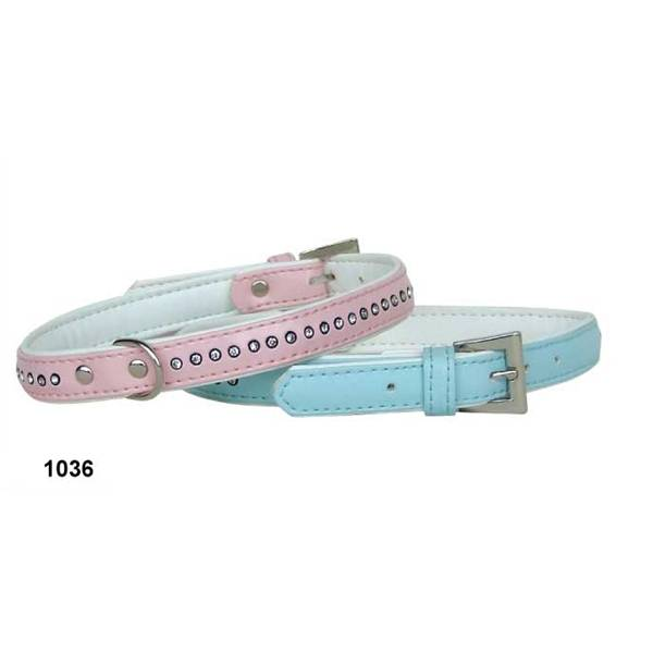 Leather Dog Collar with Crystal Line