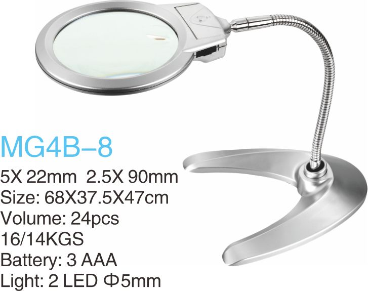 Desktop Metal Illuminated Magnifier with 2 LED Light