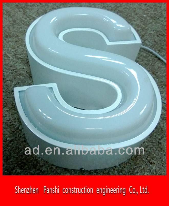 Outdoor waterproof acrylic front light embossing 3d letter sign