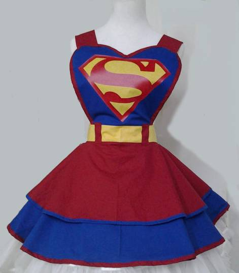 Super Hero Justice league Super Man 100% cotton sexy woman cosplay retro apron
