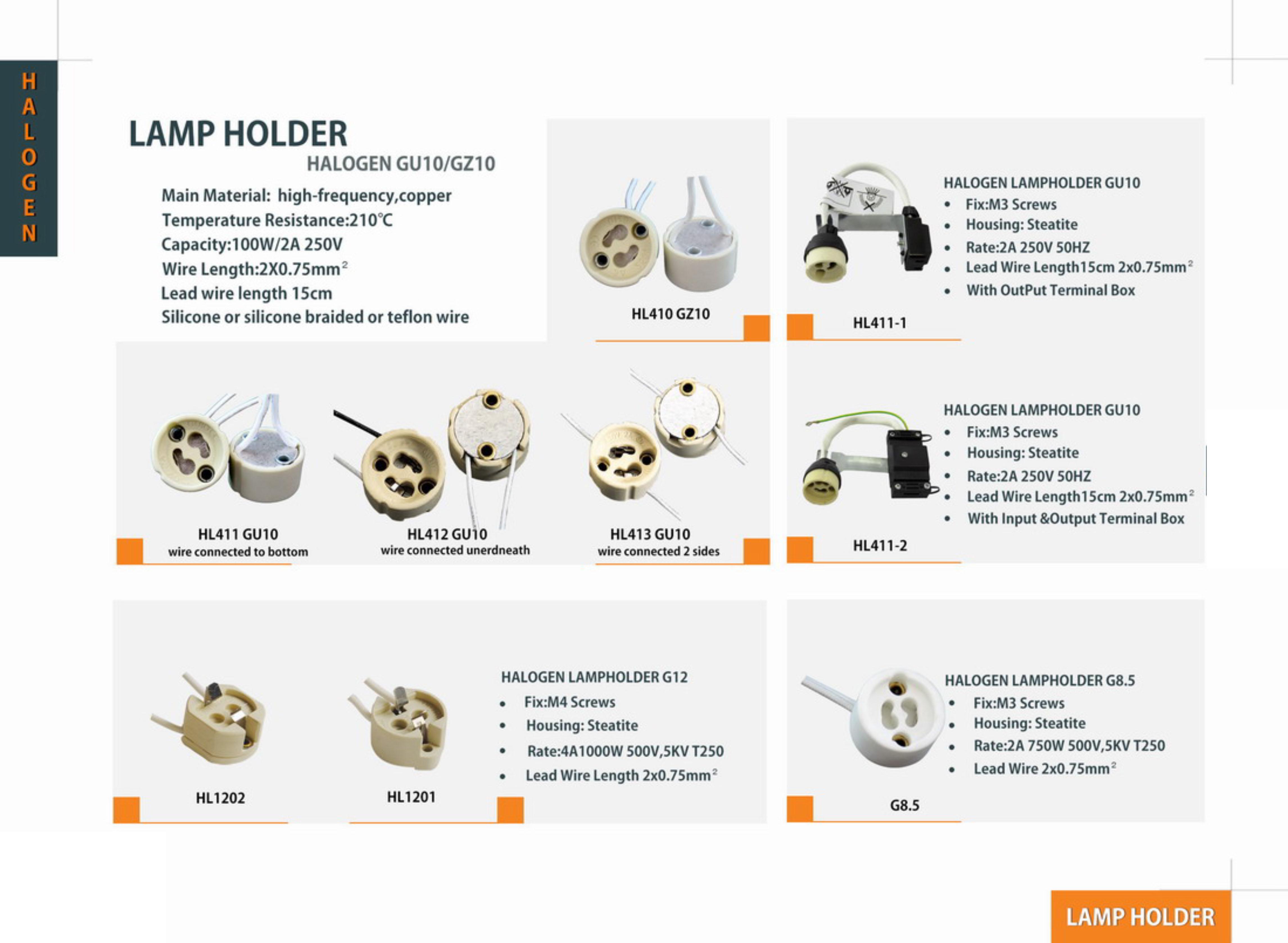 HL411/412/413 GU10 Lamp Holder/Lamp socket/Lamp base