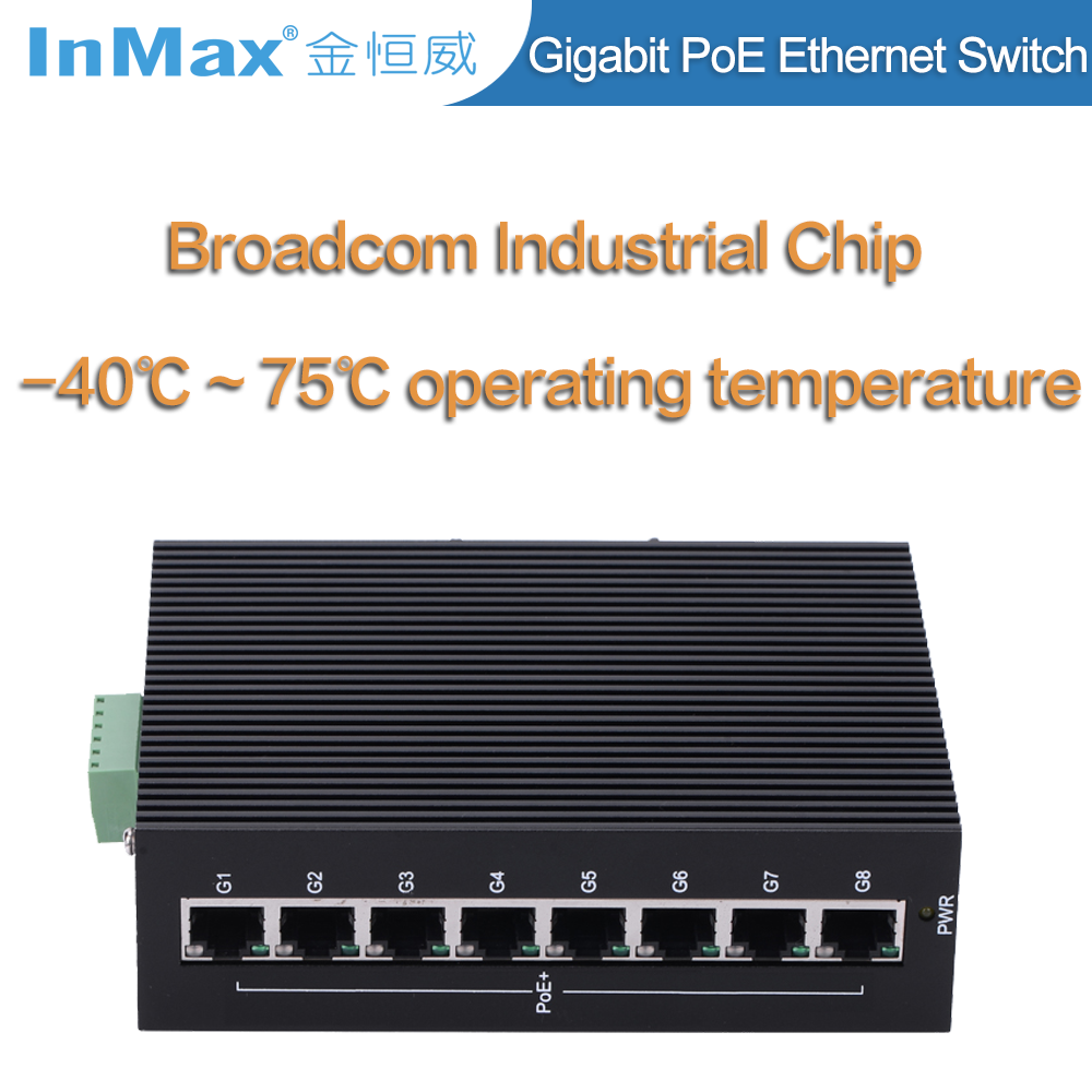 8 ports Full Gigabit Unmanaged PoE Industrial Ethernet Switch P508A