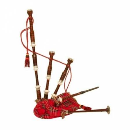 ROSE WOOD BAGPIPE, ROYAL STEWART BAG COVER WITH CORD, WITH TURNED PLAIN NICKEL SOLE AND