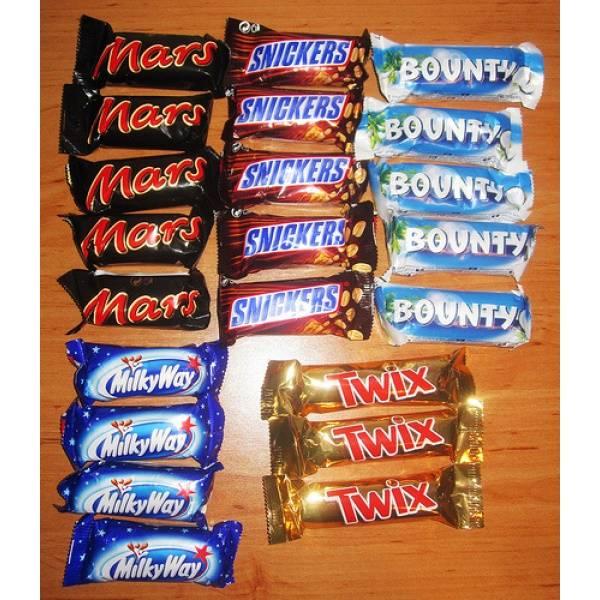 MARS,SNICKERS, BOUNTY TWIX, KITKATBOUNTY - SNICKERS - MARS - TWIX CHOCOLATES