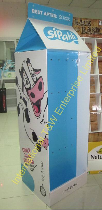 Promotional Milk cardboard display with hooks