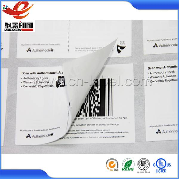 Wholesale printing waterproof qr code sticker printing 2-ply layer label