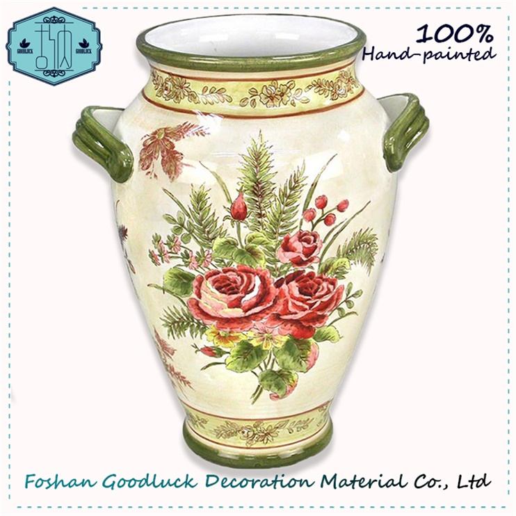 China Supplier Hand Draw Rose Pattern Country Style Home Decor Ceramic Vase