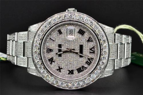 New Rolex Mens 41mm 116300 DateJust II Real Diamond Watch Fully Iced Out 18 CT.
