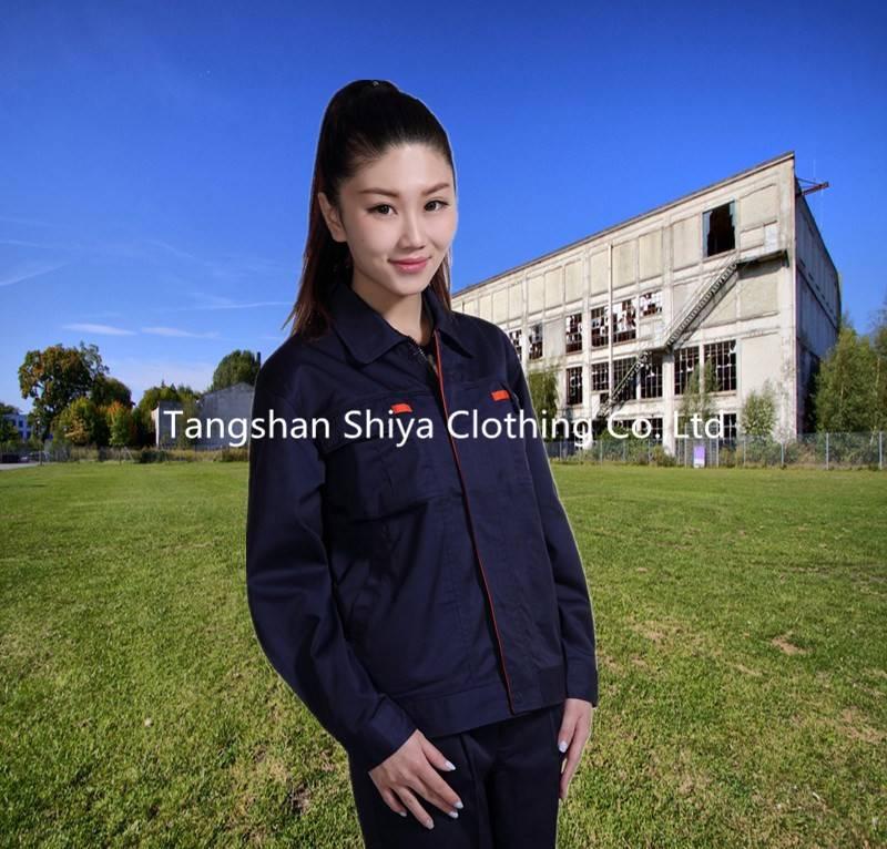 navy blue with orange long sleeve work jacket and pants