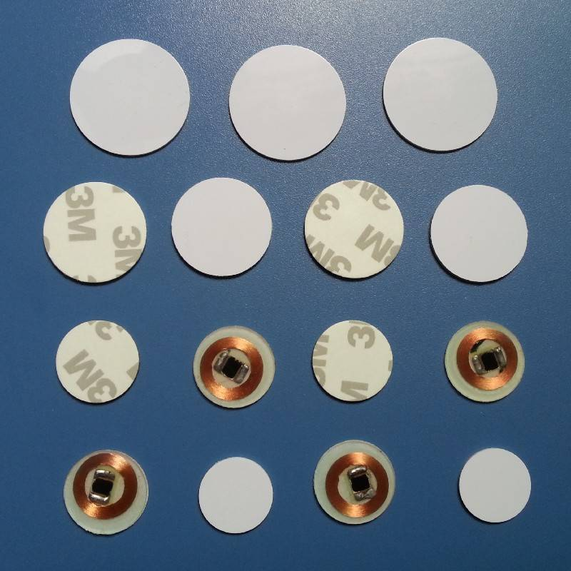 RFID Coin card 1K with 3M adhesive back 30mm diameter 13.56mhz-RFID sticker,RFID label