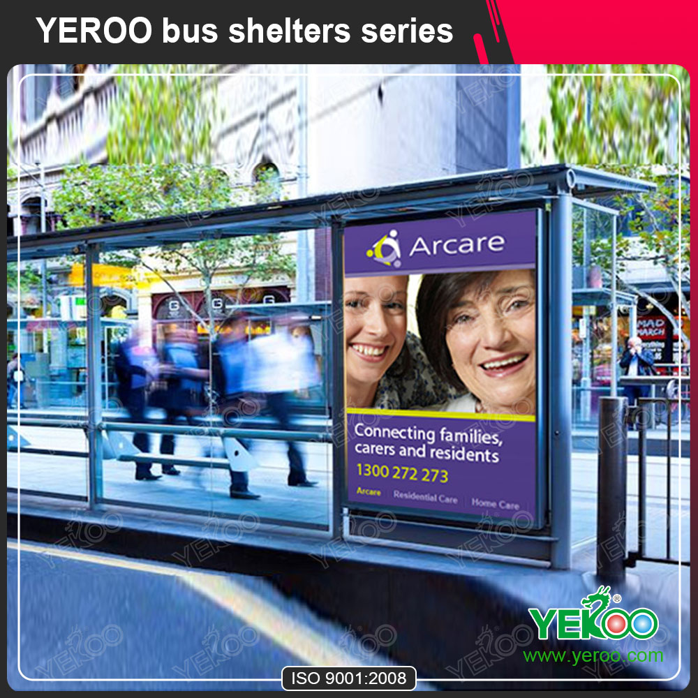 Adverising bus Shelter with led light box/sitting bench