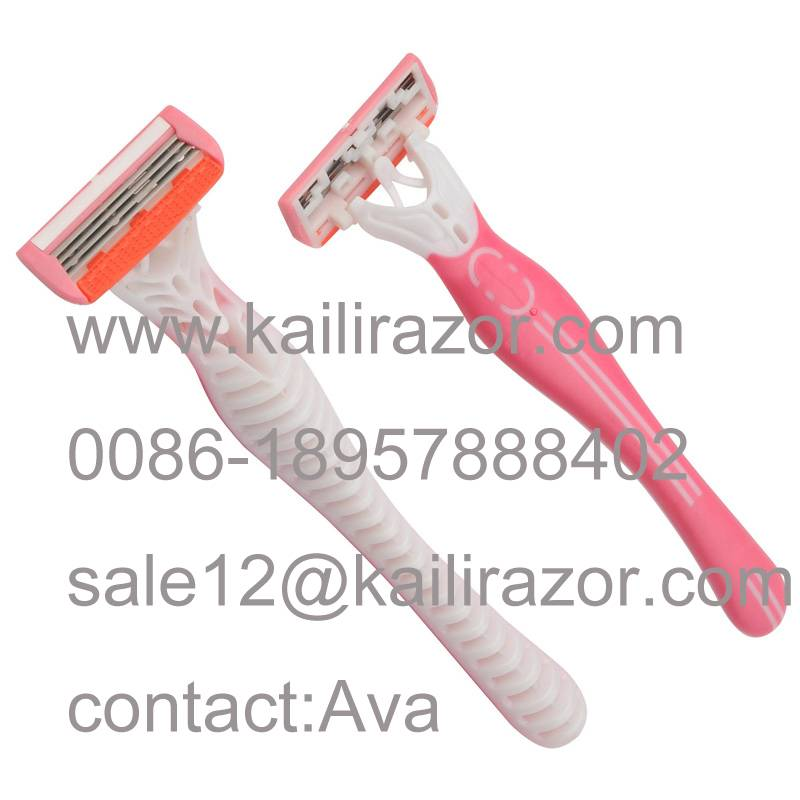 KL-X467L four blade rubber handle disposable shaving razor