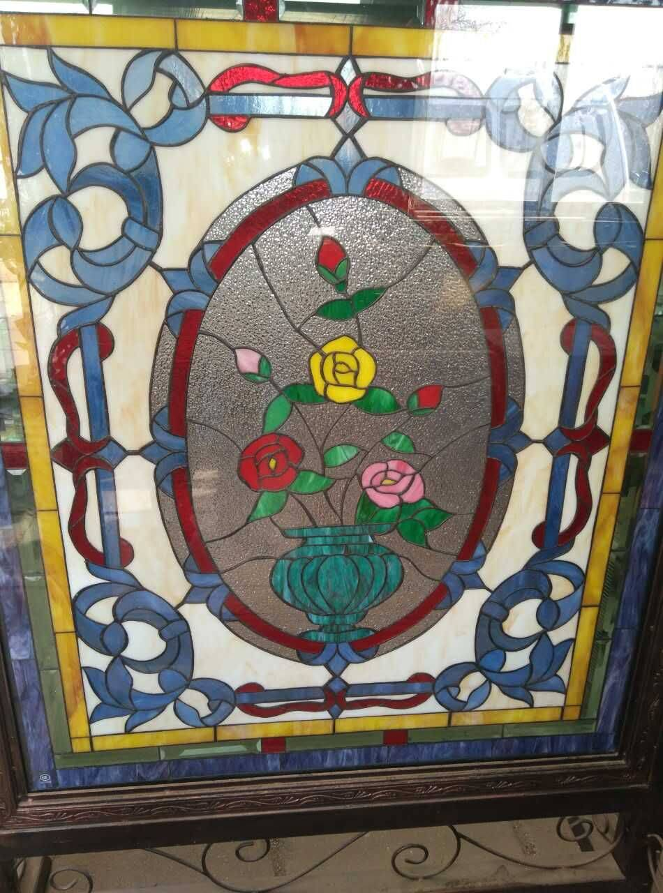 West Europe Style Colorful Stained Glass  for Door