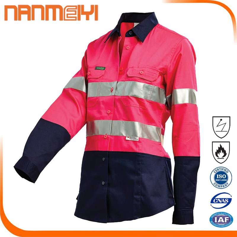 Red Safety Reflective Work Clothing High Vis Work Shirt