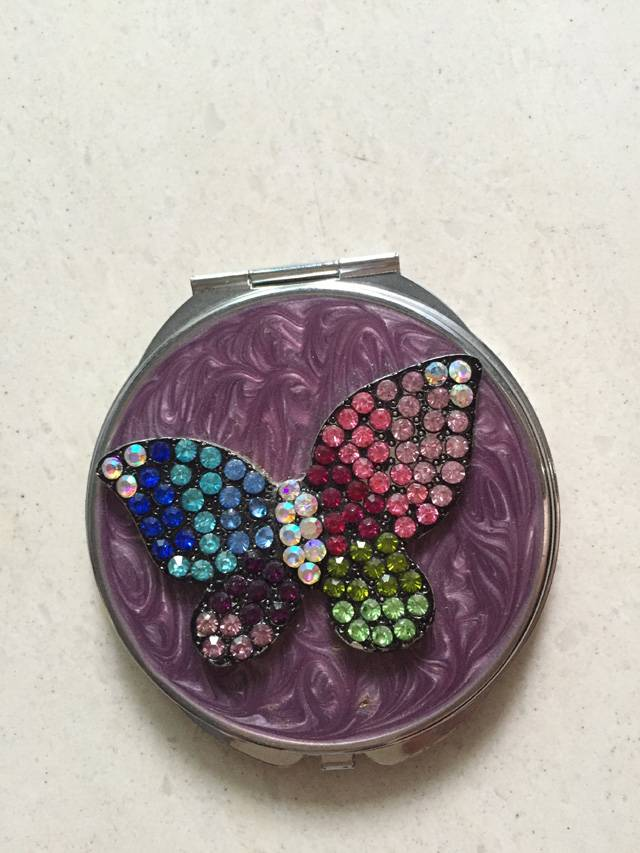 Purple Epoxy Diamonded Butterfly Compact Mirror