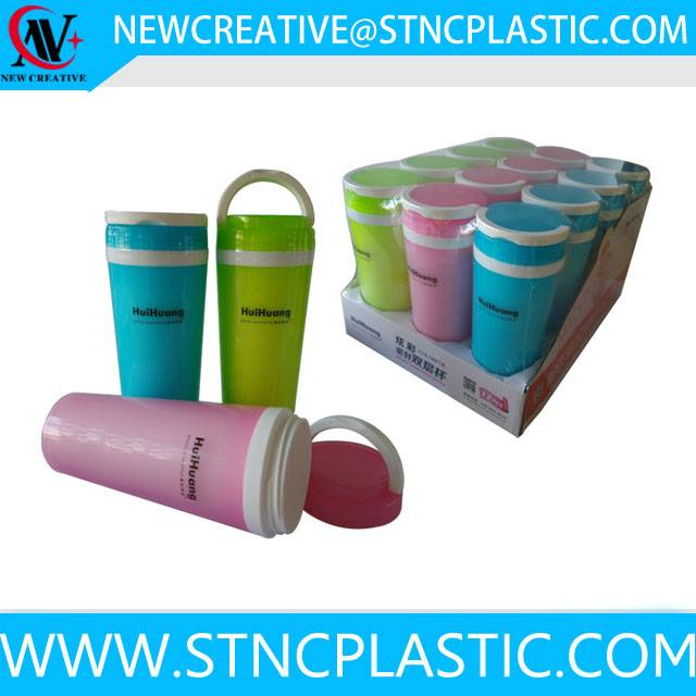 multi-color double wall plastic water bottle with handle 300ml