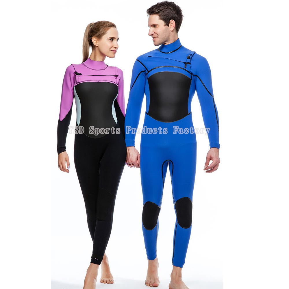 Couple fashionable front zipper super stretch diving suit