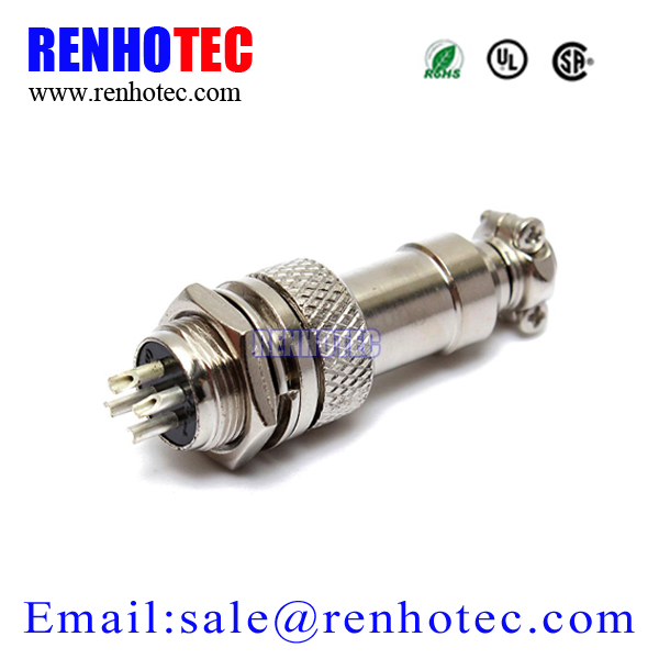 GX12-4 4Pole Male 12mm Screw Type Panel Connector