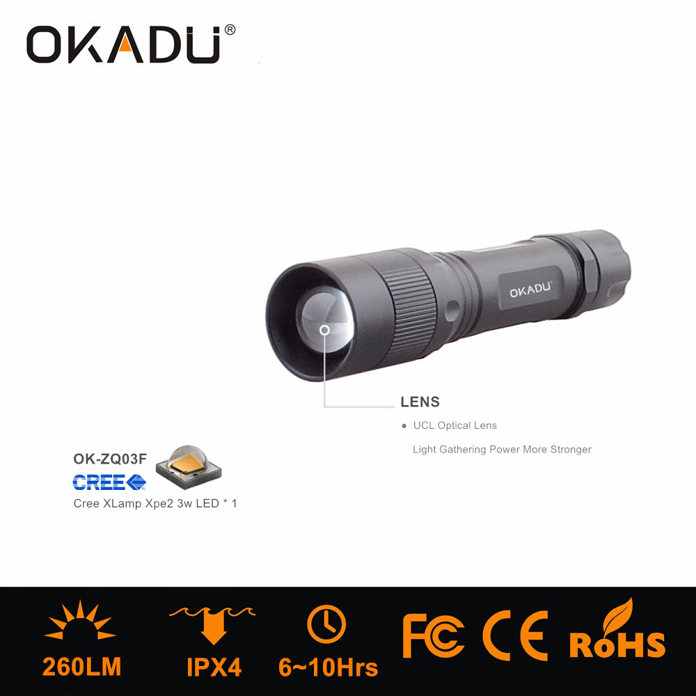 OKADU ZQ03F 18650 Battery 360 degree Rotating Focus Led Flashlight Cree Led Zoom Torch