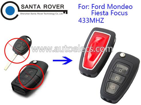 Folding key for Ford Mondeo Fiesta Focus modified remote key HU101 Blade 3 Button 433Mhz