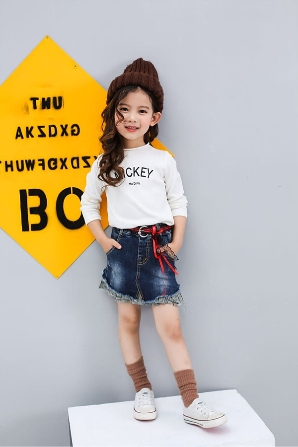 New Arrival Girls Jeans Skirt Patch Work With Cotton Fabric Manufacture