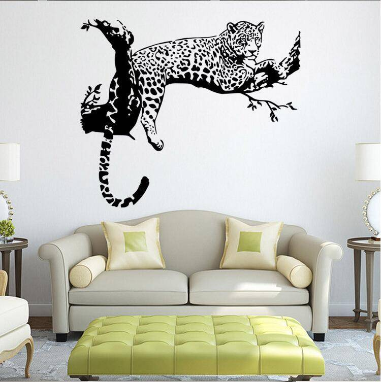 Black PVC Wall Stickers Cheetah Leopard 3D Removable Wall Decals Home Decor Stickers