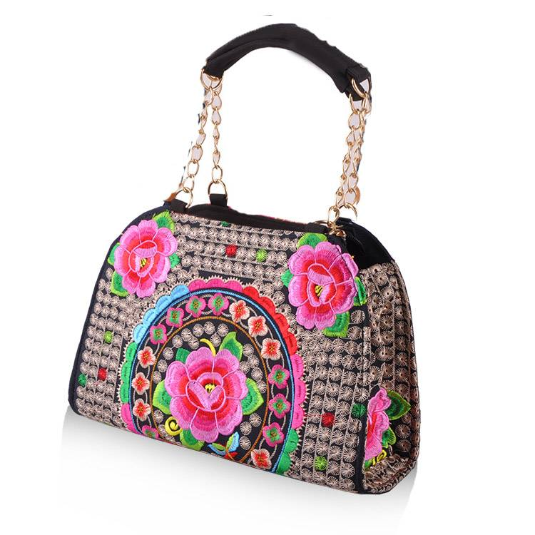 new design steal handle embrodiery bags lady handbags