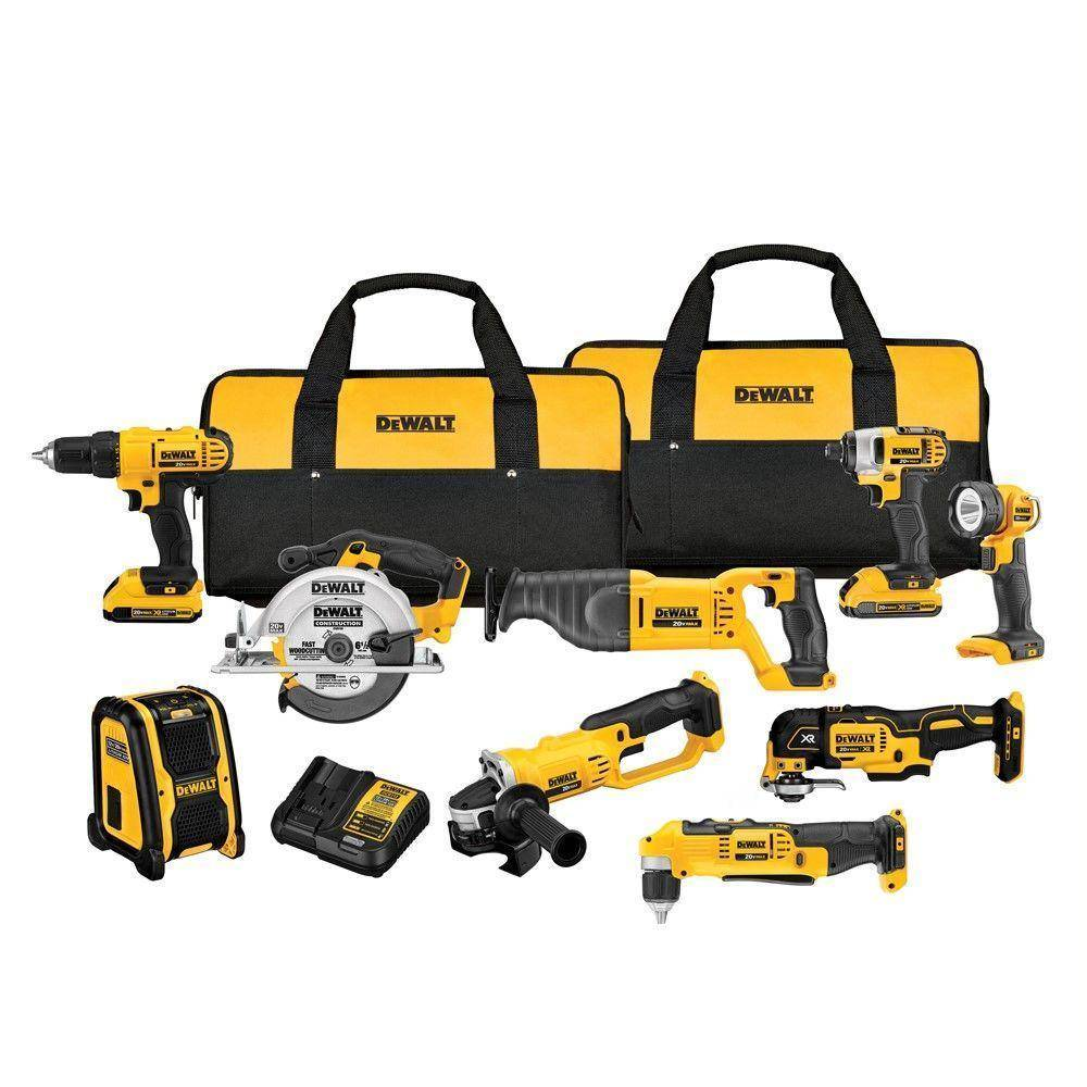 Dewalt DCK940D2 20V Max Lithium-Ion Cordless Combo 9PC Kit Saw Grinder Drill