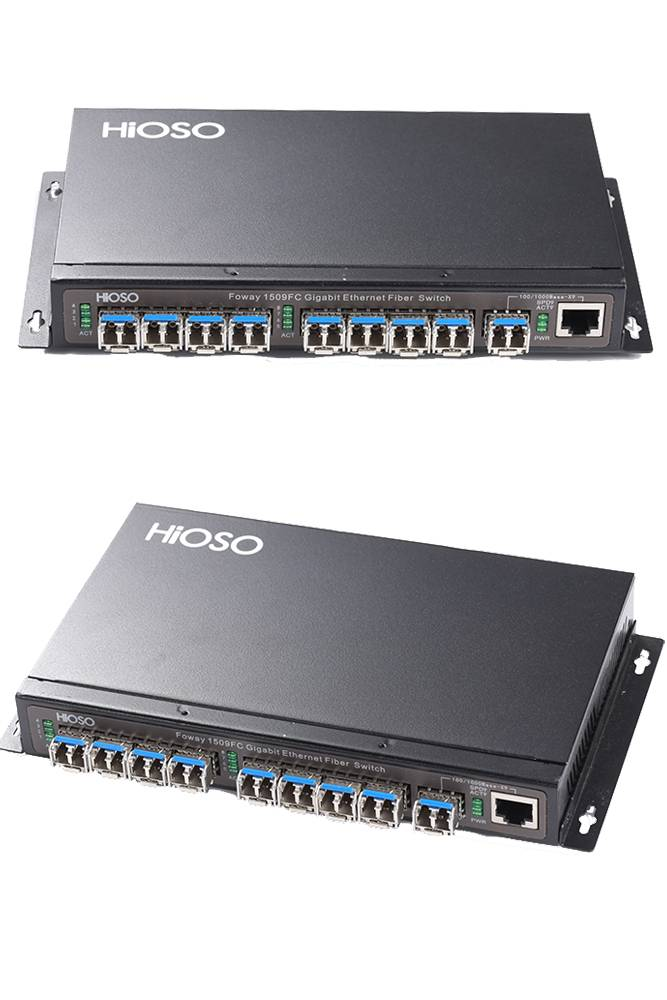 8 Gigabit SFP Ports with 1 Combo Uplink Port Fiber Switch