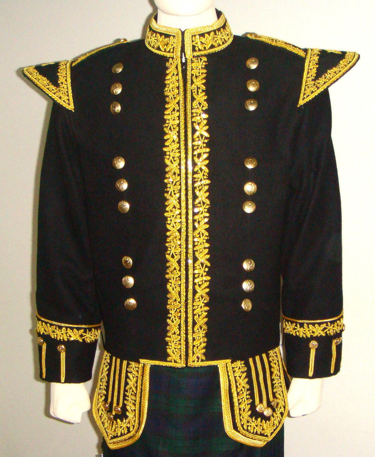 Military Doublet Jacket Black with Golden Braid work