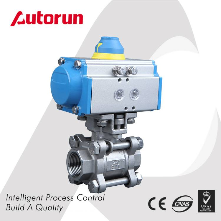 THREE PIECE PNEUMATIC ACTUATED BALL VALVE