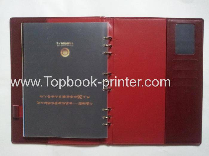 Top-grade debossing hot-stamped leather cover wire-binding hardcover book