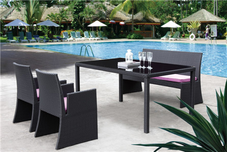 Commercial outdoor furniture pe rattan dining cube set