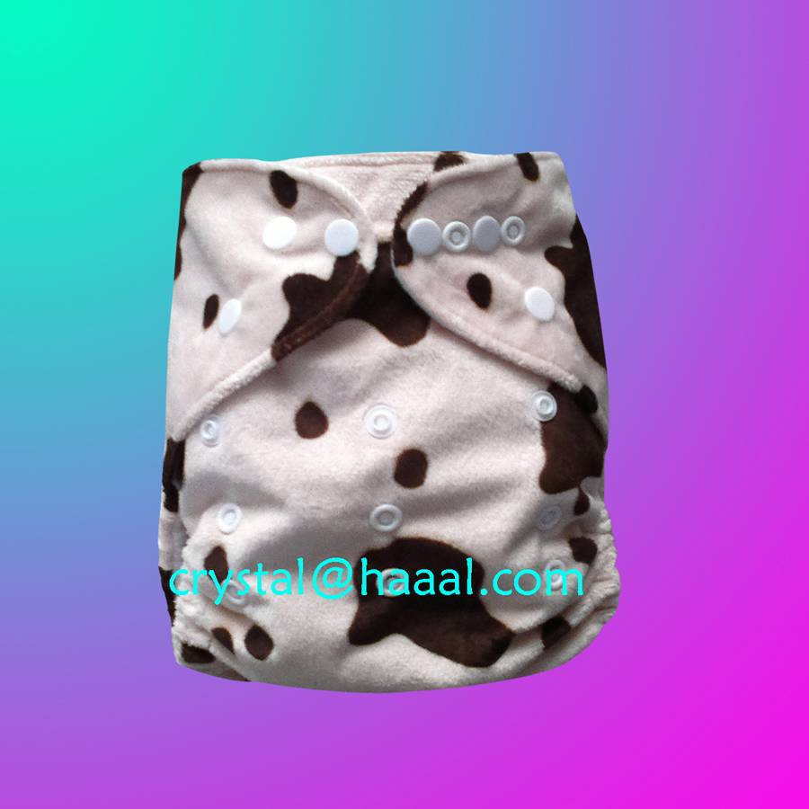 cow printed minky cloth diaper nappy