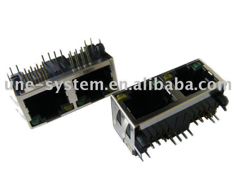 1X2 RJ45 socket(connector) without transformer