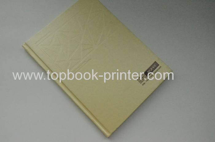 Textured paper cover embossing design hardback book printing