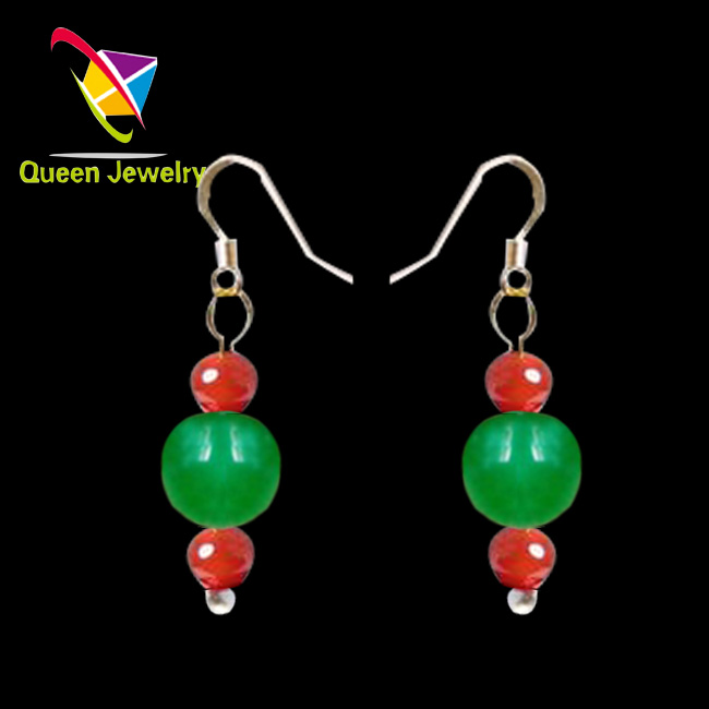 paparazzi jewelry wholesale natural gemstone colorful Chinese jade earring high-end lady's gift