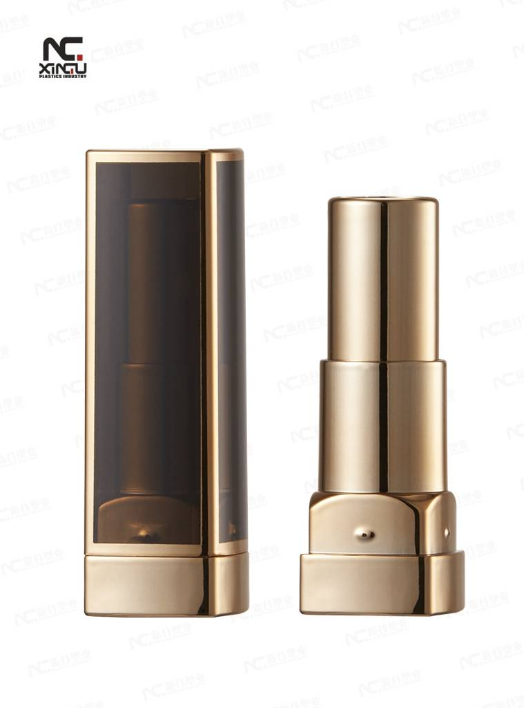 lipstick plastic container, Golden Color, Novel Design, Made of ABS and AS, OEM Makeup