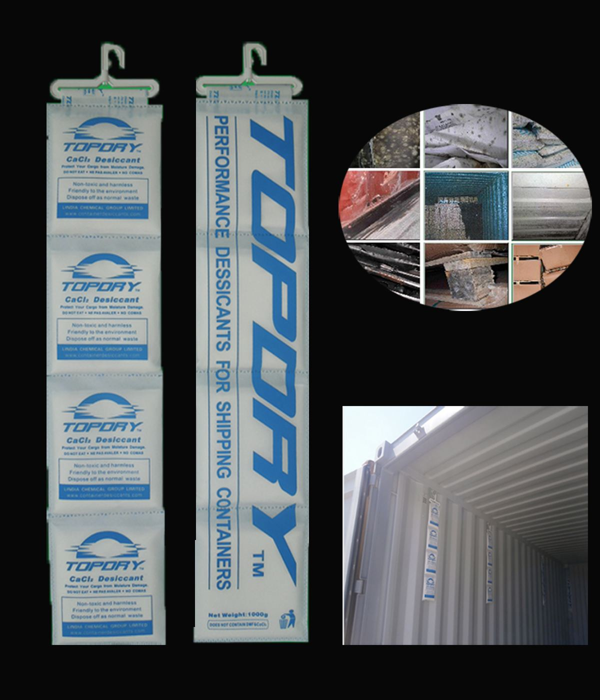 300% moisture rate hanging strip pack super dry calcium chloride container desiccant