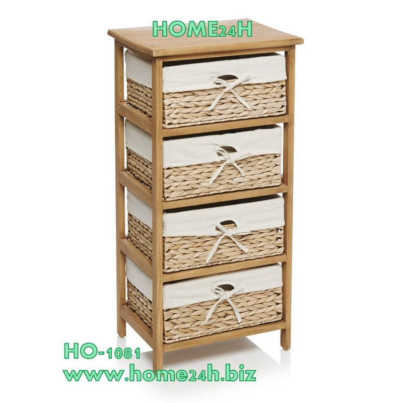 Handmade Water Hyacinth Cabinet, 4 drawers, natural color