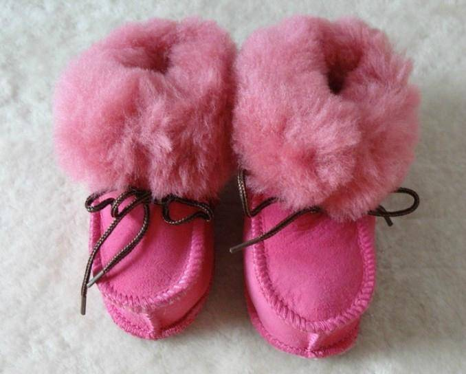 keep warm  double face leather baby shoes