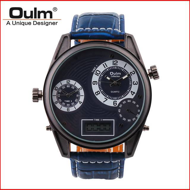 Oulm brand big dial watch with led digital and PC21 movt