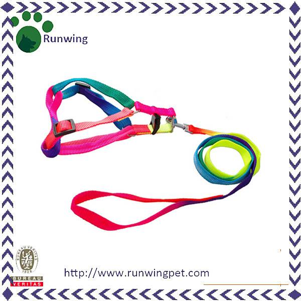 Colorful Rainbow Color Pet Leash and Harness