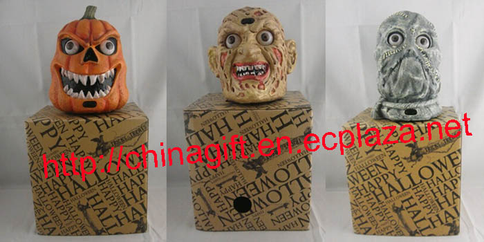 Halloween Bar Decoration Sound Control Zombie & Pumpkin Head Light