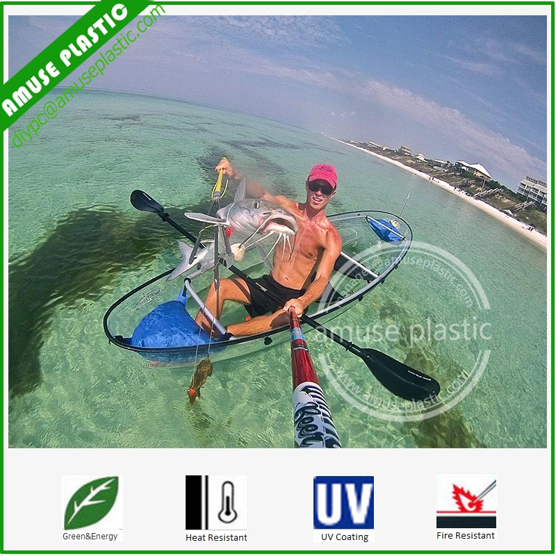Double Seats Entertainment High Impact-Resistant Glass Lexan Transparent PC Kayaks